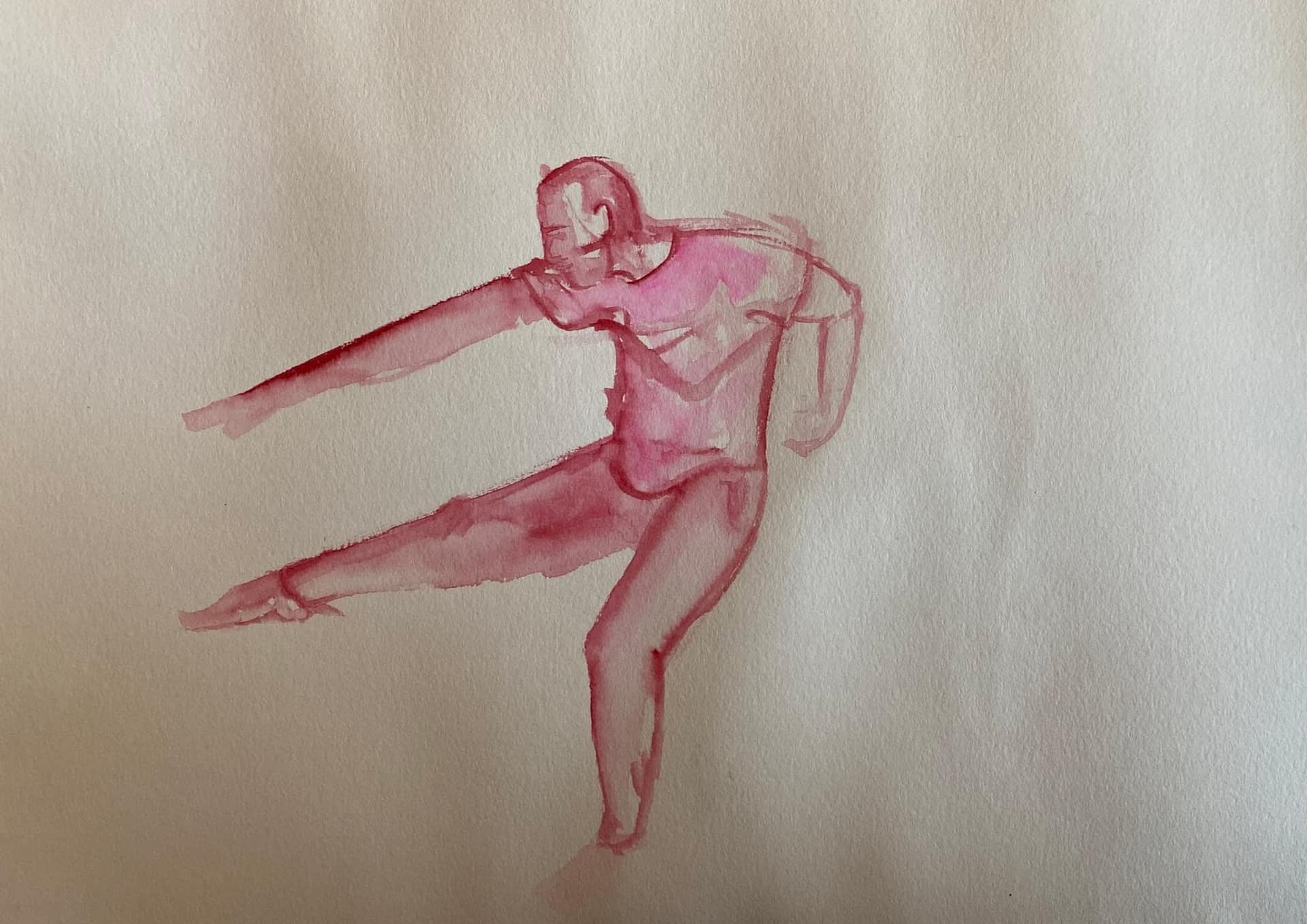 Hand drawn image of man dancing in pink watercolour by Alice Dixon